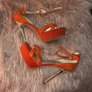 Suede Orange heel